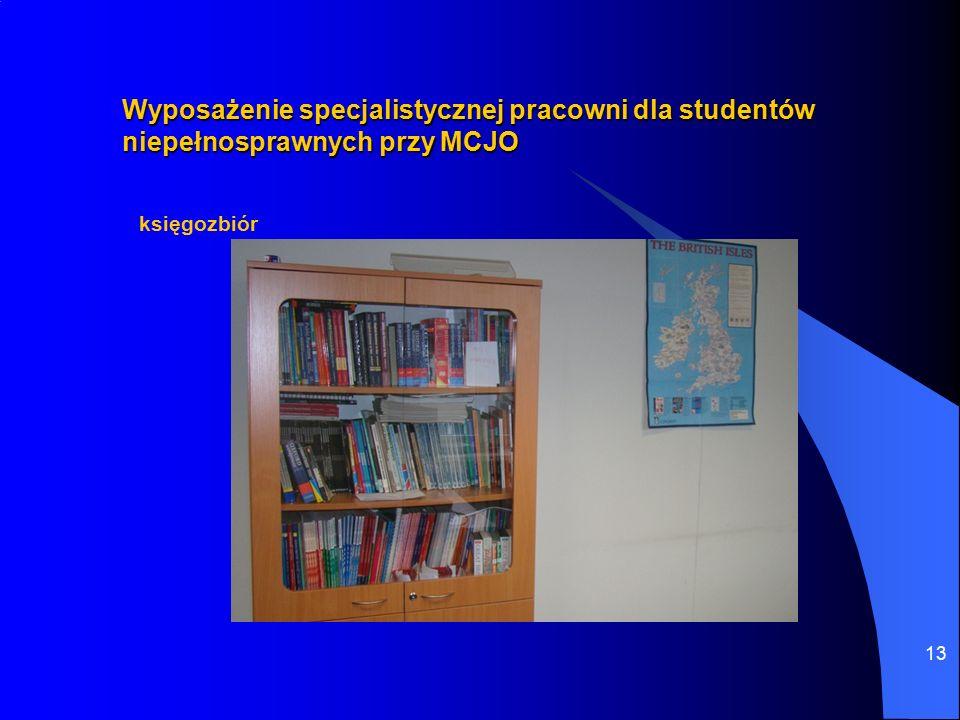 13 Wyposażenie specjalistycznej pracowni dla studentów niepełnosprawnych przy MCJO księgozbiór