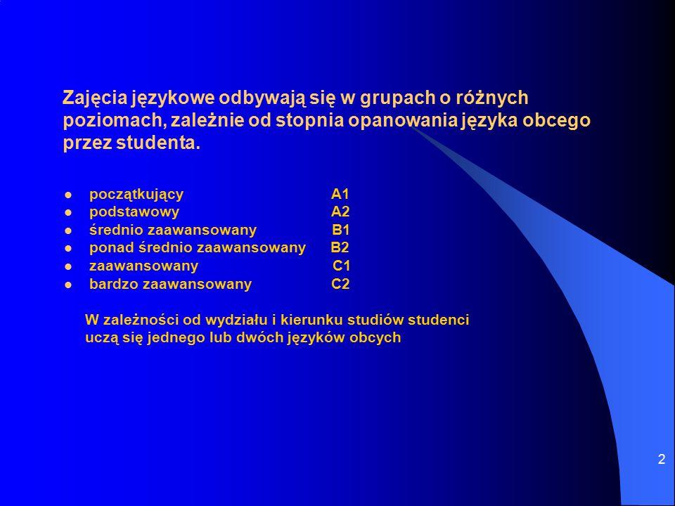 2 Zajęcia językowe odbywają się w grupach o różnych poziomach, zależnie od stopnia opanowania języka obcego przez studenta.