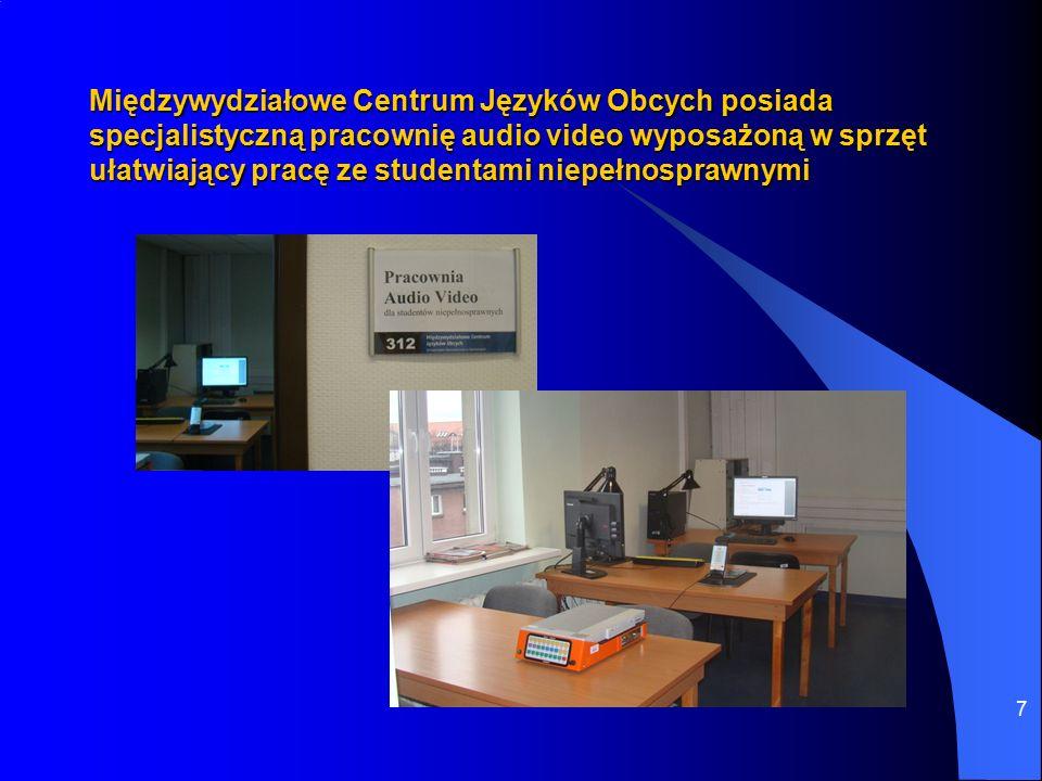 7 Międzywydziałowe Centrum Języków Obcych posiada specjalistyczną pracownię audio video wyposażoną w sprzęt ułatwiający pracę ze studentami niepełnosprawnymi