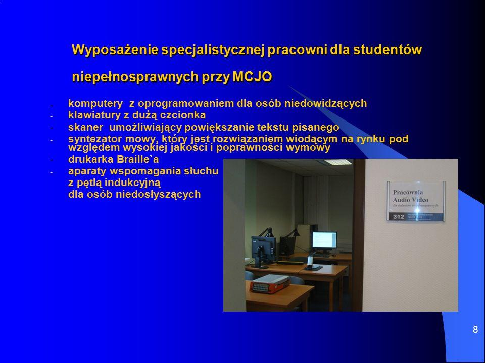 8 Wyposażenie specjalistycznej pracowni dla studentów niepełnosprawnych przy MCJO - komputery z oprogramowaniem dla osób niedowidzących - klawiatury z dużą czcionka - skaner umożliwiający powiększanie tekstu pisanego - syntezator mowy, który jest rozwiązaniem wiodącym na rynku pod względem wysokiej jakości i poprawności wymowy - drukarka Braille`a - aparaty wspomagania słuchu z pętlą indukcyjną dla osób niedosłyszących
