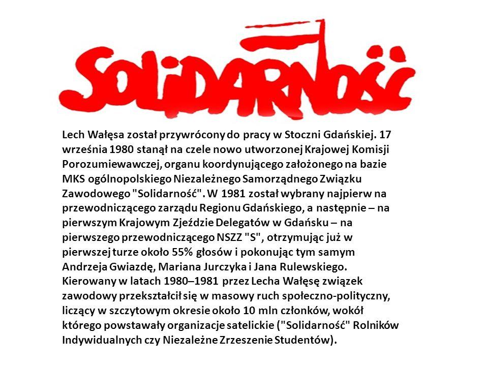 Lech Wałęsa został przywrócony do pracy w Stoczni Gdańskiej.