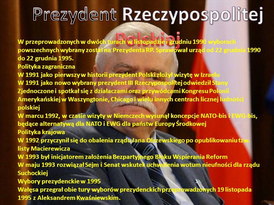 W 1995 założył pozarządową organizację Fundacja Instytut Lecha Wałęsy W latach 1996–1997 próbował organizować własną partię polityczną, jednak ostatecznie poparł kampanię wyborczą AWS, która skończyła się w 1997 roku wygraną tego ugrupowania w wyborach parlamentarnych.