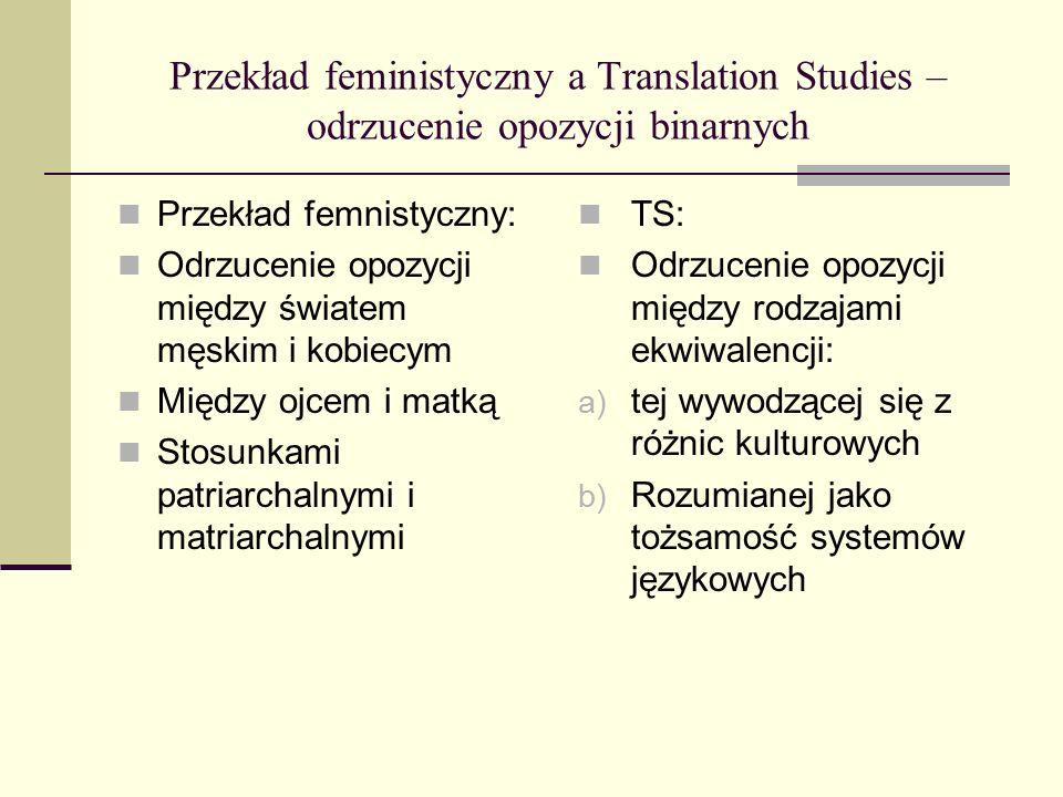Przekład feministyczny a Translation Studies – odrzucenie opozycji binarnych Przekład femnistyczny: Odrzucenie opozycji między światem męskim i kobiecym Między ojcem i matką Stosunkami patriarchalnymi i matriarchalnymi TS: Odrzucenie opozycji między rodzajami ekwiwalencji: a) tej wywodzącej się z różnic kulturowych b) Rozumianej jako tożsamość systemów językowych