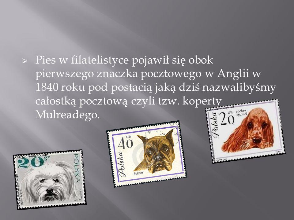  Pies w filatelistyce pojawił się obok pierwszego znaczka pocztowego w Anglii w 1840 roku pod postacią jaką dziś nazwalibyśmy całostką pocztową czyli