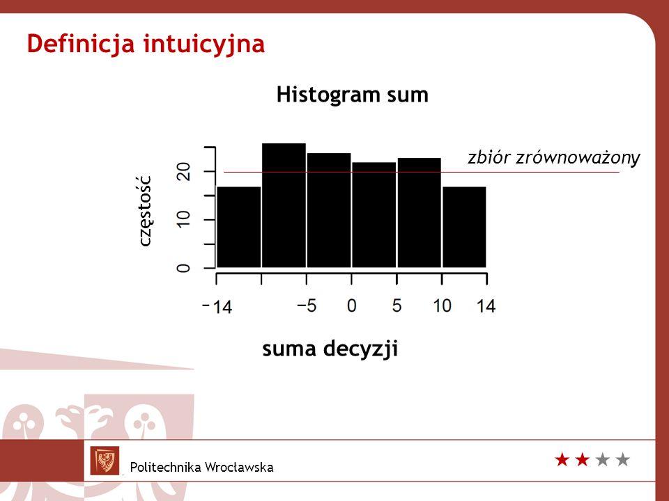 suma decyzji zbiór zrównoważony Definicja intuicyjna częstość Histogram sum Politechnika Wrocławska 