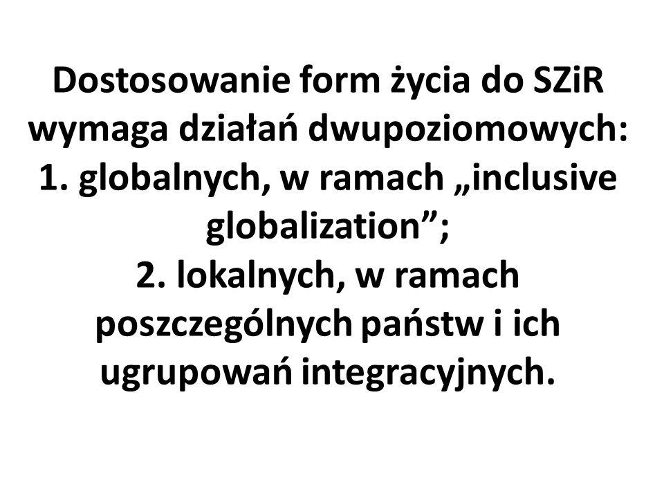 """Dostosowanie form życia do SZiR wymaga działań dwupoziomowych: 1. globalnych, w ramach """"inclusive globalization""""; 2. lokalnych, w ramach poszczególnyc"""