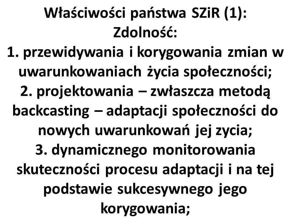 Właściwości państwa SZiR (1): Zdolność: 1. przewidywania i korygowania zmian w uwarunkowaniach życia społeczności; 2. projektowania – zwłaszcza metodą