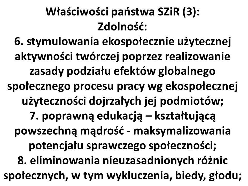 Właściwości państwa SZiR (3): Zdolność: 6. stymulowania ekospołecznie użytecznej aktywności twórczej poprzez realizowanie zasady podziału efektów glob