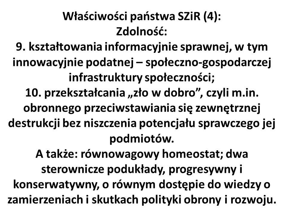 Właściwości państwa SZiR (4): Zdolność: 9. kształtowania informacyjnie sprawnej, w tym innowacyjnie podatnej – społeczno-gospodarczej infrastruktury s
