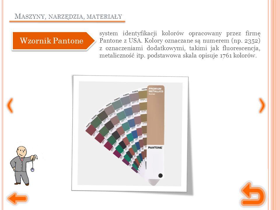 M ASZYNY, NARZĘDZIA, MATERIAŁY system identyfikacji kolorów opracowany przez firmę Pantone z USA.
