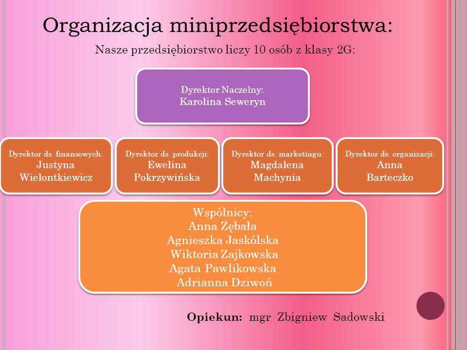 Organizacja miniprzedsiębiorstwa: Dyrektor Naczelny: Karolina Seweryn Dyrektor ds.