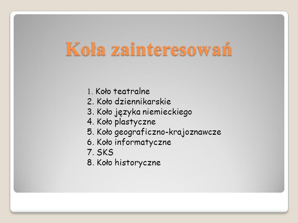 Koła zainteresowań 1. Koło teatralne 2. Koło dziennikarskie 3.