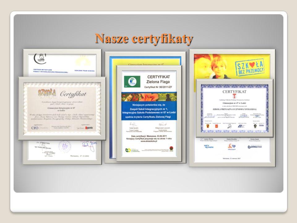 Nasze certyfikaty Nasze certyfikaty