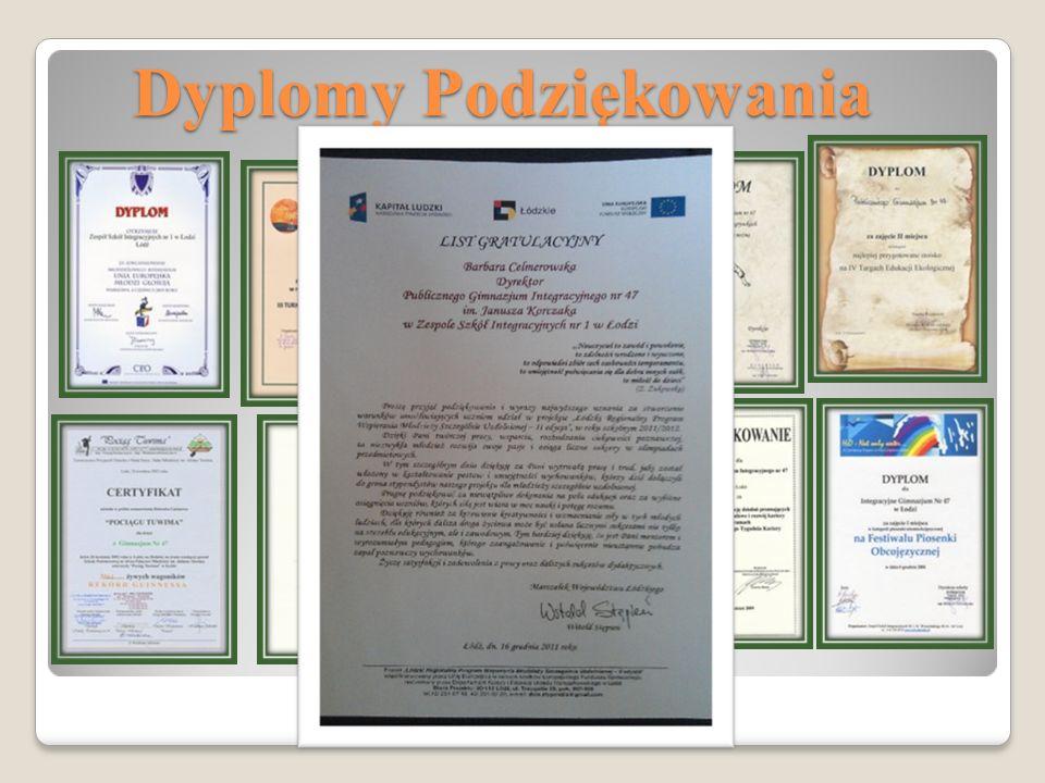 Dyplomy Podziękowania