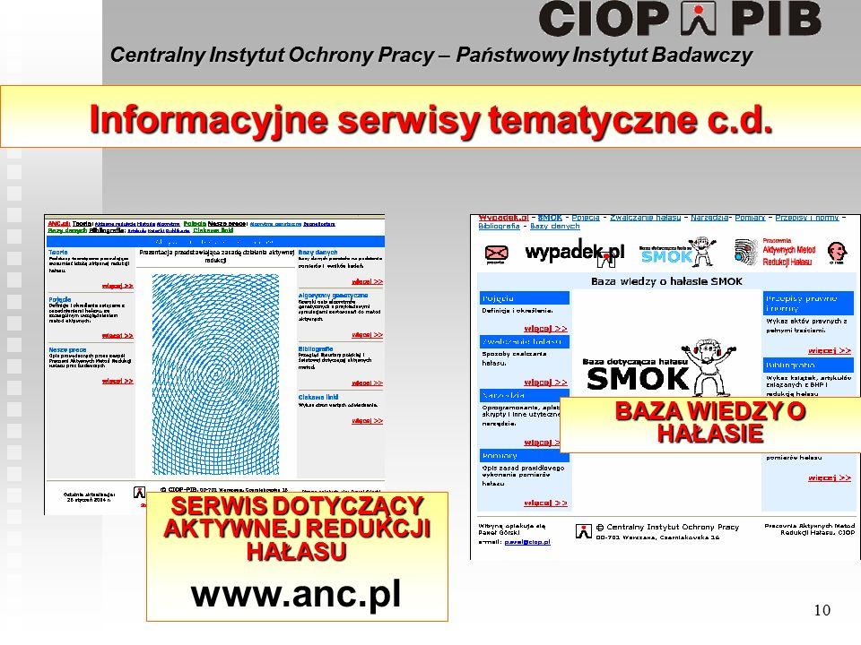 Centralny Instytut Ochrony Pracy – Państwowy Instytut Badawczy 10 Informacyjne serwisy tematyczne c.d.