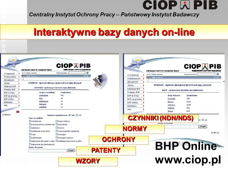 Centralny Instytut Ochrony Pracy – Państwowy Instytut Badawczy 12 Interaktywne bazy danych on-line CZYNNIKI (NDN/NDS) NORMY OCHRONY PATENTY WZORY BHP Online www.ciop.pl