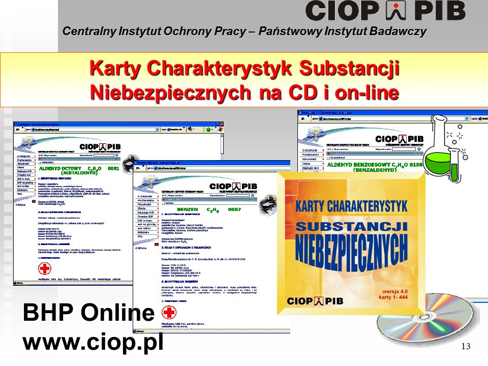 Centralny Instytut Ochrony Pracy – Państwowy Instytut Badawczy 13 Karty Charakterystyk Substancji Niebezpiecznych na CD i on-line BHP Online www.ciop.pl