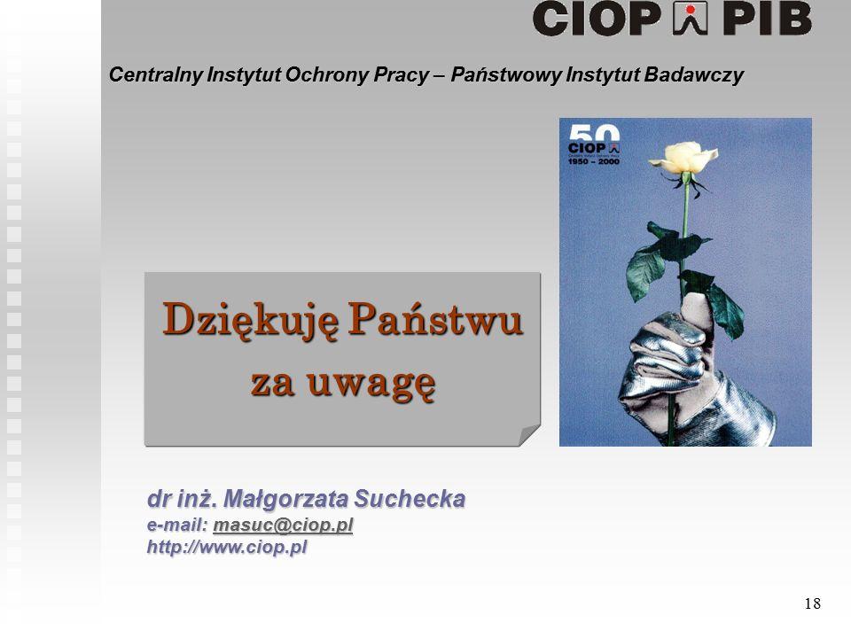 Centralny Instytut Ochrony Pracy – Państwowy Instytut Badawczy 18 dr inż.