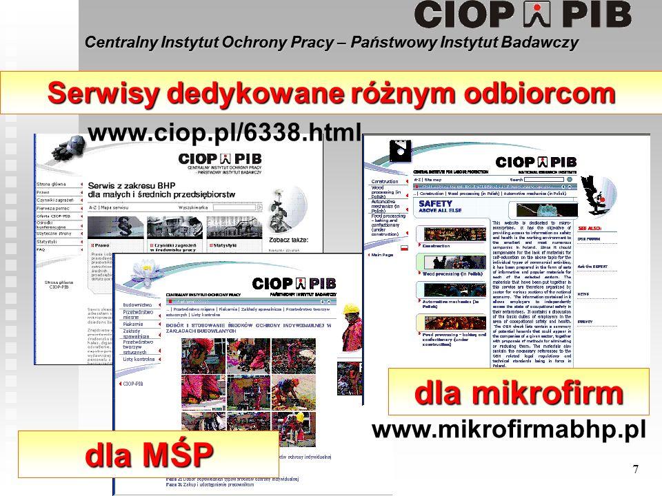 Centralny Instytut Ochrony Pracy – Państwowy Instytut Badawczy 7 Serwisy dedykowane różnym odbiorcom dla mikrofirm dla MŚP www.mikrofirmabhp.pl www.ciop.pl/6338.html