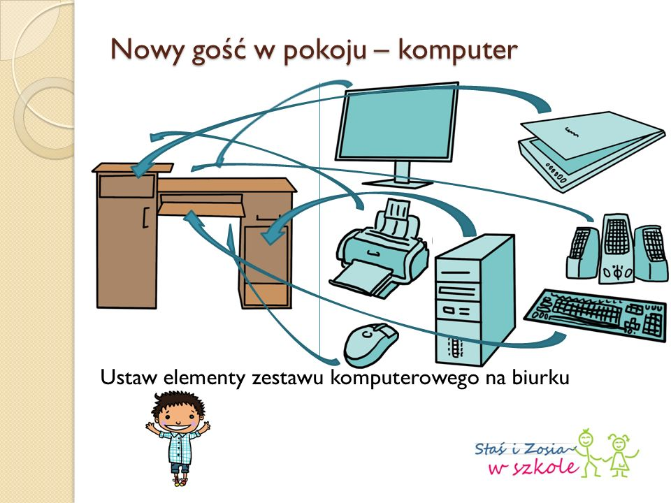 Nowy gość w pokoju – komputer Ustaw elementy zestawu komputerowego na biurku