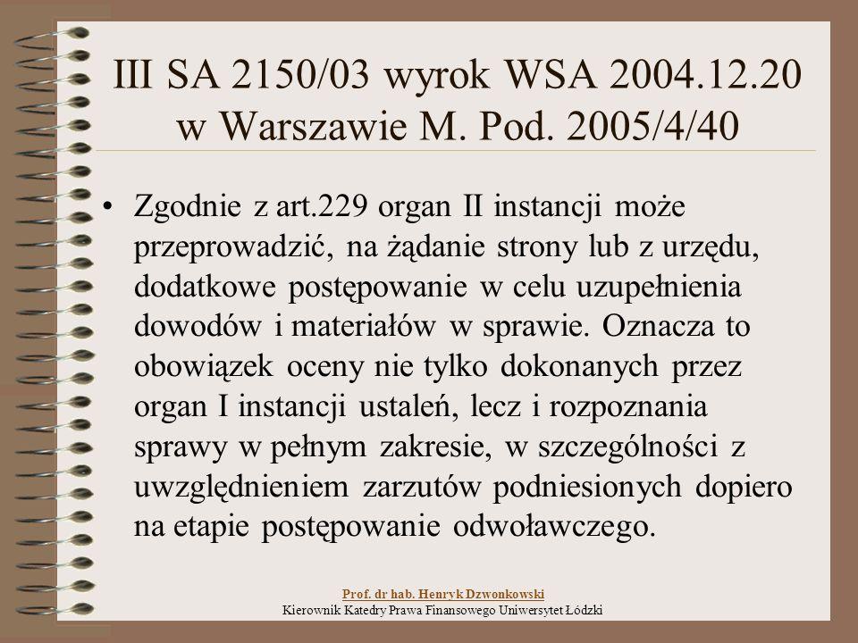 III SA 2150/03 wyrok WSA 2004.12.20 w Warszawie M.