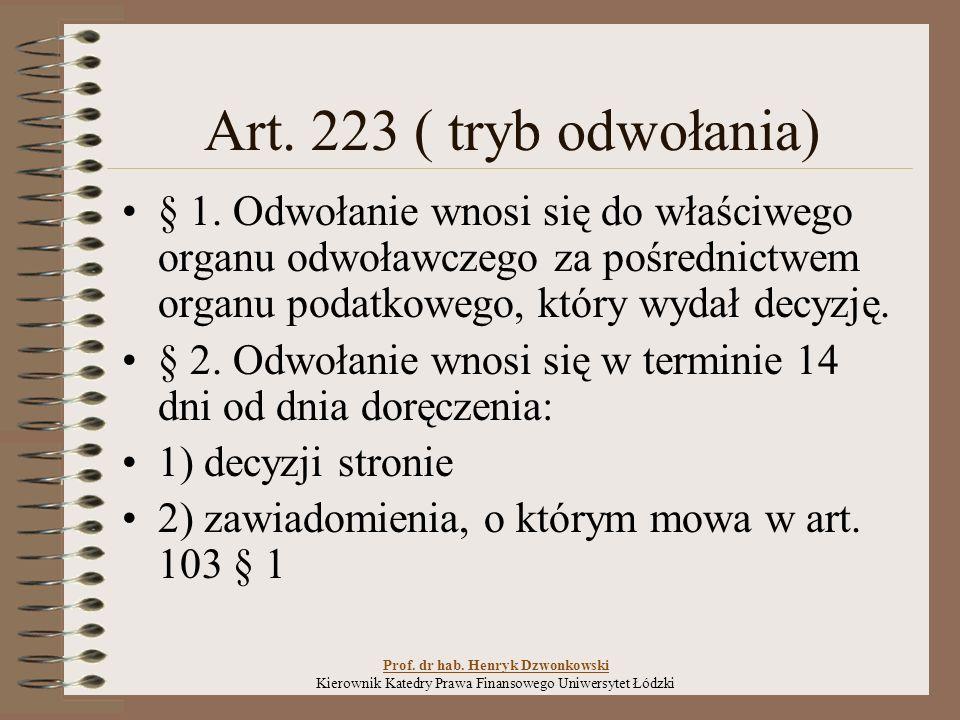 Art.223 ( tryb odwołania) § 1.
