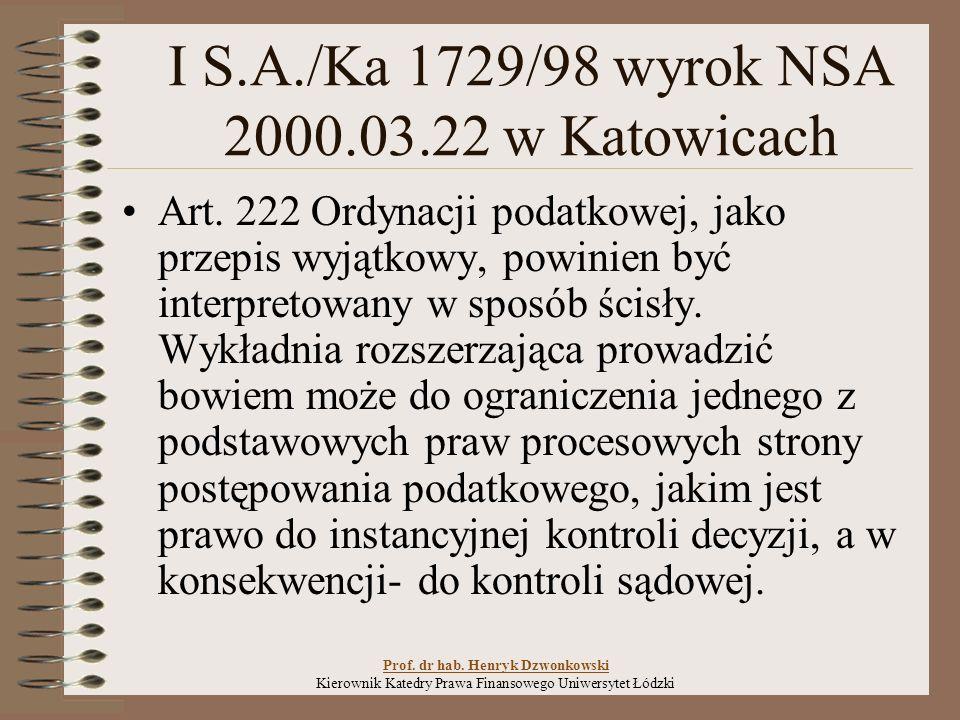 I S.A./Ka 1729/98 wyrok NSA 2000.03.22 w Katowicach Art.