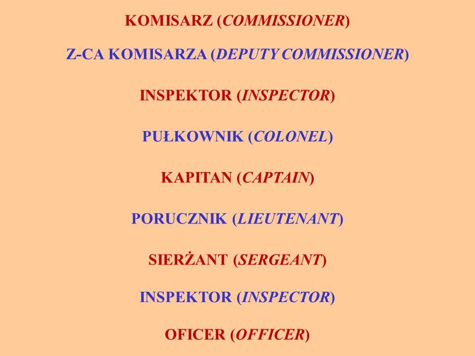 KOMISARZ (COMMISSIONER) Z-CA KOMISARZA (DEPUTY COMMISSIONER) INSPEKTOR (INSPECTOR) PUŁKOWNIK (COLONEL) KAPITAN (CAPTAIN) PORUCZNIK (LIEUTENANT) SIERŻANT (SERGEANT) INSPEKTOR (INSPECTOR) OFICER (OFFICER)