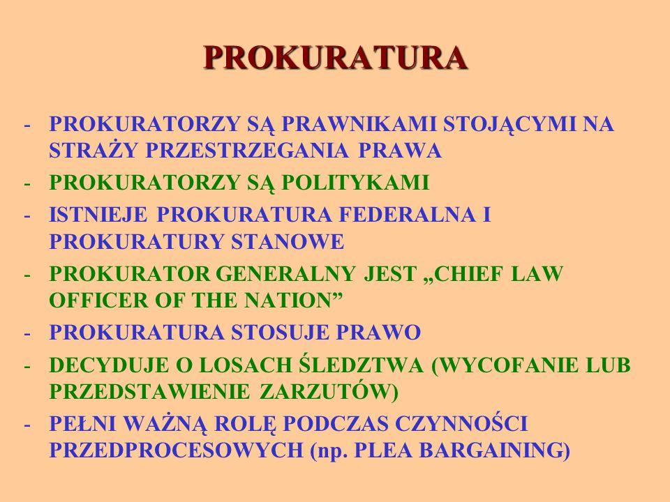 """PROKURATURA -PROKURATORZY SĄ PRAWNIKAMI STOJĄCYMI NA STRAŻY PRZESTRZEGANIA PRAWA -PROKURATORZY SĄ POLITYKAMI -ISTNIEJE PROKURATURA FEDERALNA I PROKURATURY STANOWE -PROKURATOR GENERALNY JEST """"CHIEF LAW OFFICER OF THE NATION -PROKURATURA STOSUJE PRAWO -DECYDUJE O LOSACH ŚLEDZTWA (WYCOFANIE LUB PRZEDSTAWIENIE ZARZUTÓW) -PEŁNI WAŻNĄ ROLĘ PODCZAS CZYNNOŚCI PRZEDPROCESOWYCH (np."""