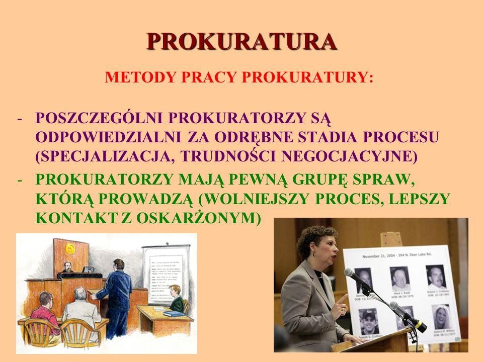 PROKURATURA METODY PRACY PROKURATURY: -POSZCZEGÓLNI PROKURATORZY SĄ ODPOWIEDZIALNI ZA ODRĘBNE STADIA PROCESU (SPECJALIZACJA, TRUDNOŚCI NEGOCJACYJNE) -PROKURATORZY MAJĄ PEWNĄ GRUPĘ SPRAW, KTÓRĄ PROWADZĄ (WOLNIEJSZY PROCES, LEPSZY KONTAKT Z OSKARŻONYM)