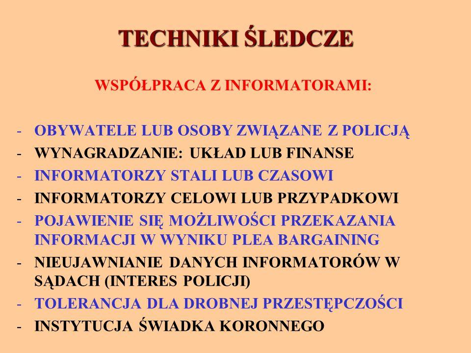 TECHNIKI ŚLEDCZE WSPÓŁPRACA Z INFORMATORAMI: -OBYWATELE LUB OSOBY ZWIĄZANE Z POLICJĄ -WYNAGRADZANIE: UKŁAD LUB FINANSE -INFORMATORZY STALI LUB CZASOWI -INFORMATORZY CELOWI LUB PRZYPADKOWI -POJAWIENIE SIĘ MOŻLIWOŚCI PRZEKAZANIA INFORMACJI W WYNIKU PLEA BARGAINING -NIEUJAWNIANIE DANYCH INFORMATORÓW W SĄDACH (INTERES POLICJI) -TOLERANCJA DLA DROBNEJ PRZESTĘPCZOŚCI -INSTYTUCJA ŚWIADKA KORONNEGO