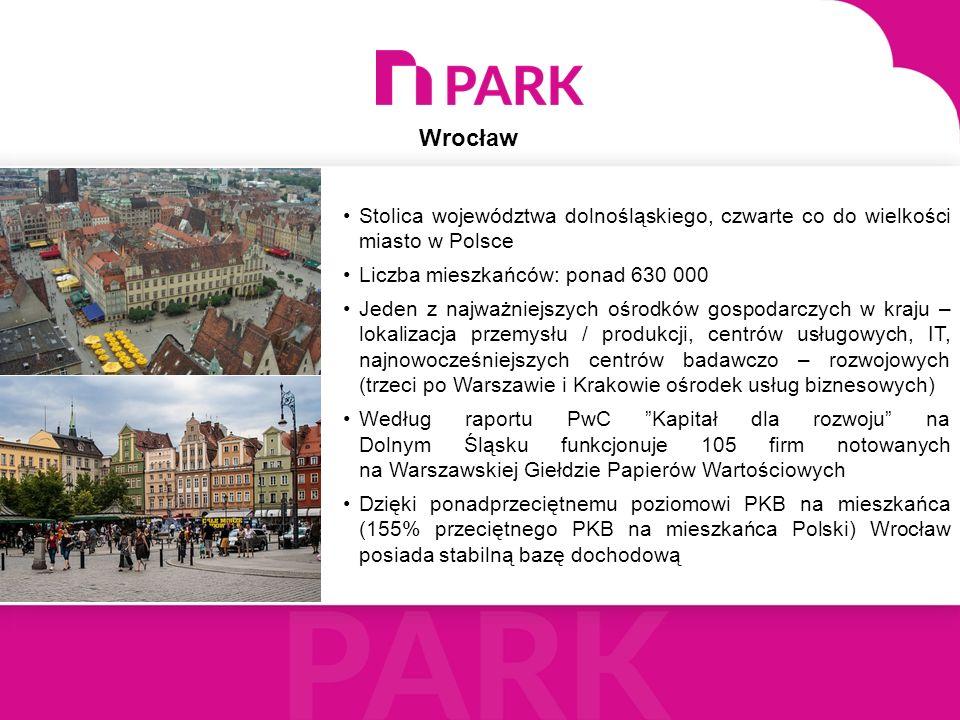 Stolica województwa dolnośląskiego, czwarte co do wielkości miasto w Polsce Liczba mieszkańców: ponad 630 000 Jeden z najważniejszych ośrodków gospoda
