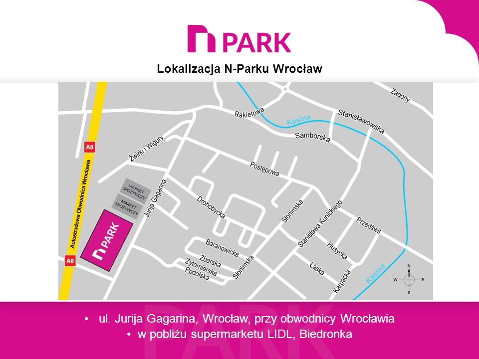 Lokalizacja N-Parku Wrocław ul. Jurija Gagarina, Wrocław, przy obwodnicy Wrocławia w pobliżu supermarketu LIDL, Biedronka