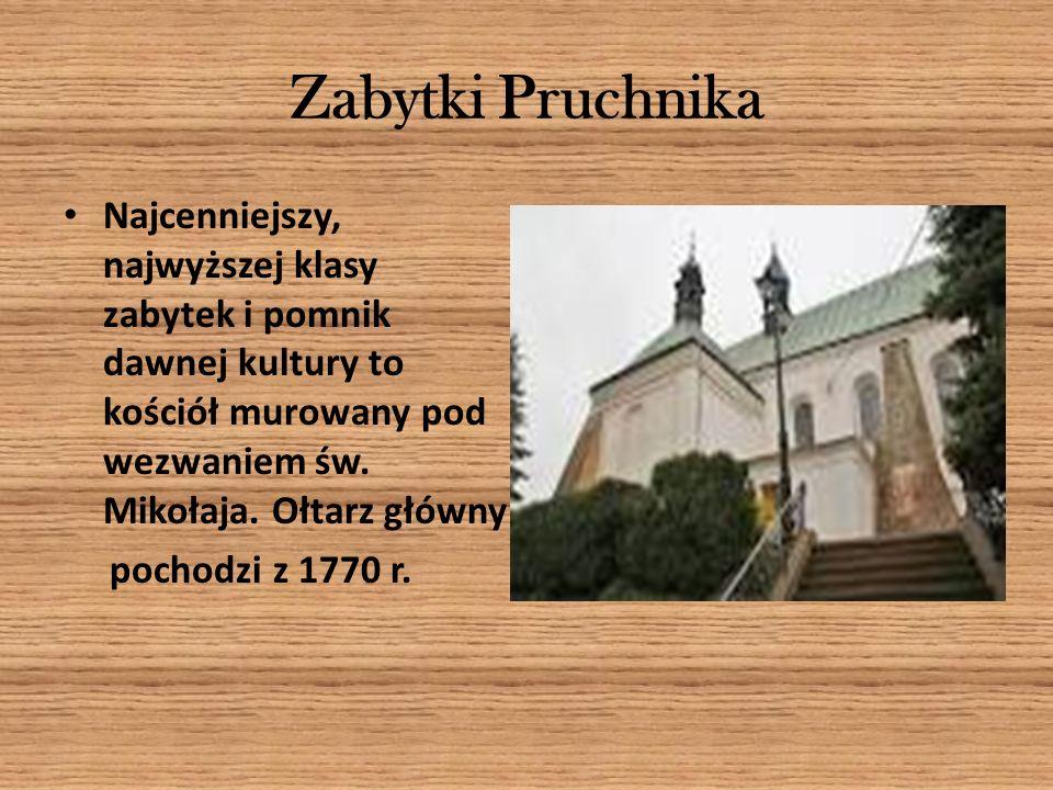 Zabytki Pruchnika Najcenniejszy, najwyższej klasy zabytek i pomnik dawnej kultury to kościół murowany pod wezwaniem św. Mikołaja. Ołtarz główny pochod