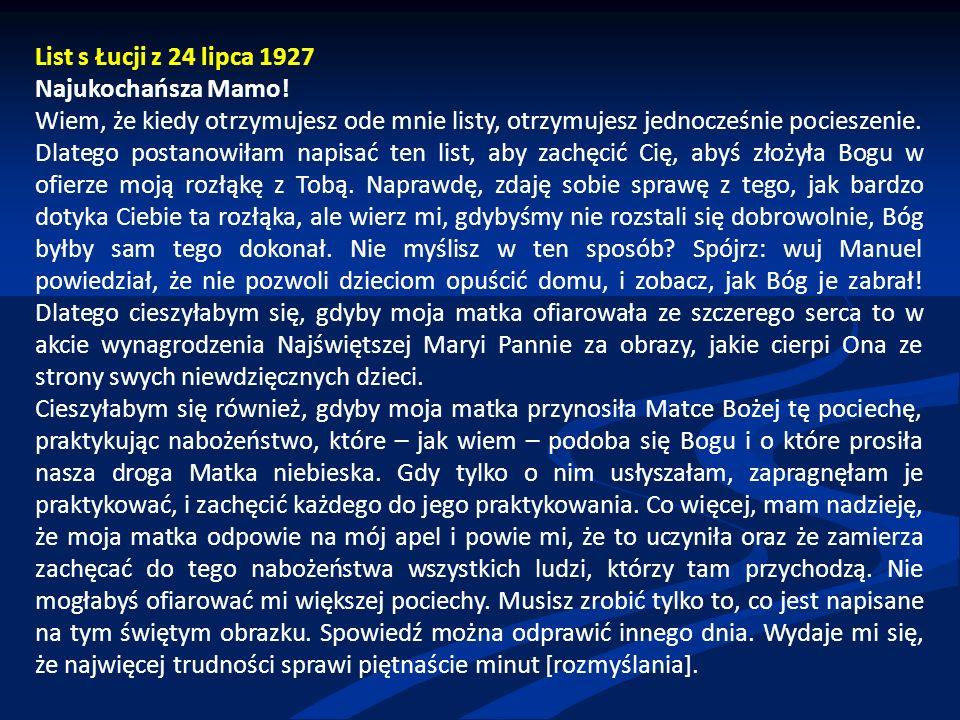 List s Łucji z 24 lipca 1927 Najukochańsza Mamo.