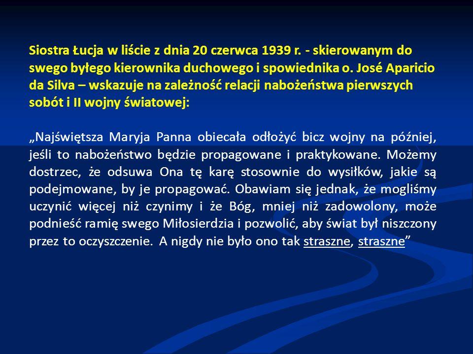 Siostra Łucja w liście z dnia 20 czerwca 1939 r.