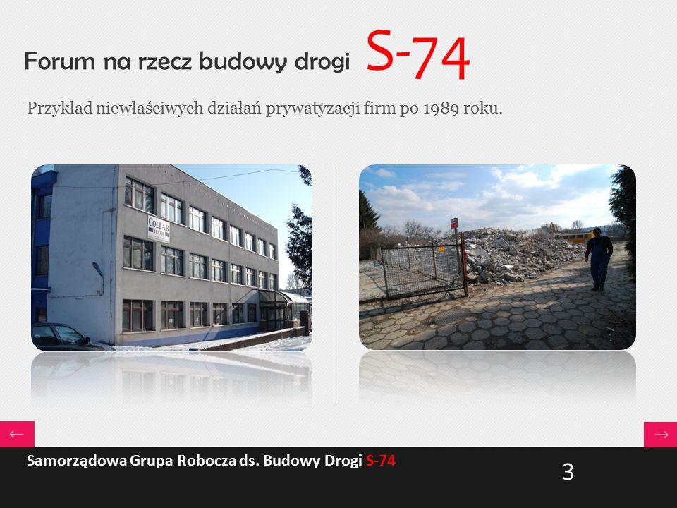 Forum na rzecz budowy drogi S-74 Przykład niewłaściwych działań prywatyzacji firm po 1989 roku. Samorządowa Grupa Robocza ds. Budowy Drogi S-74 3