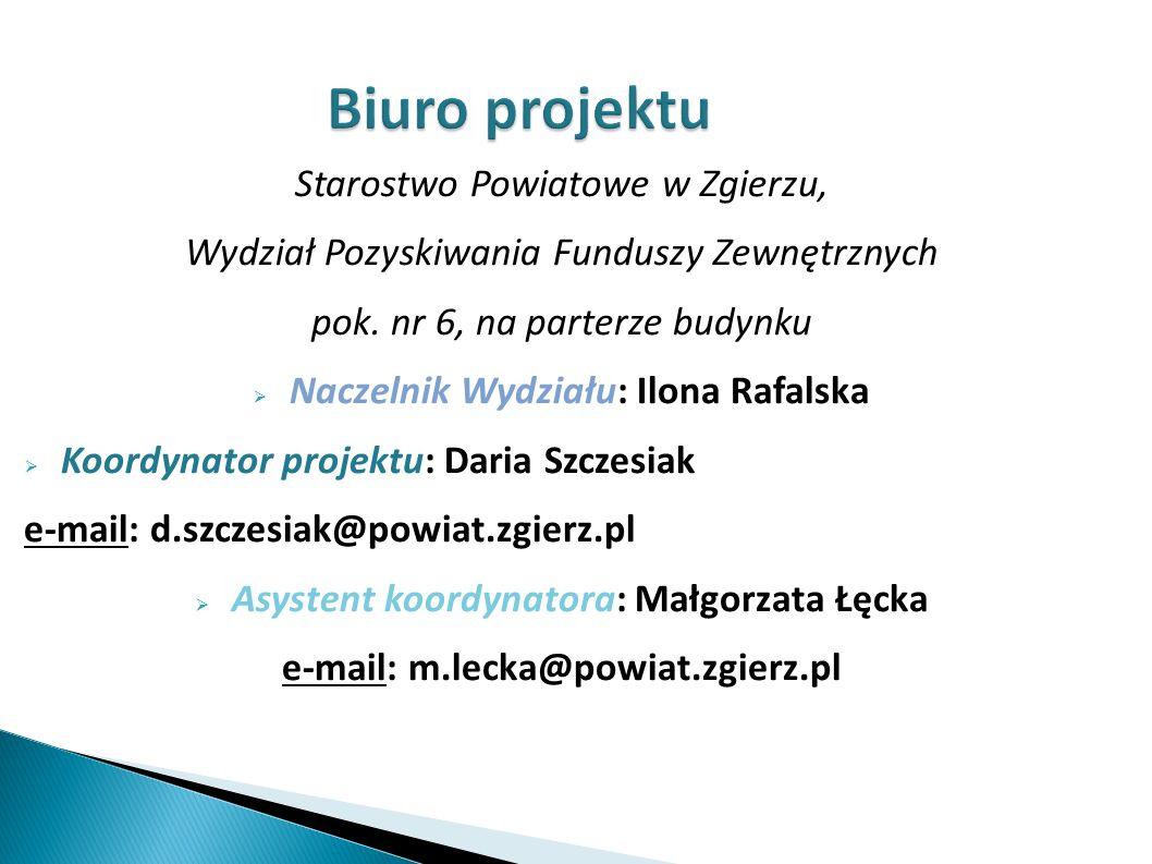 Biuro projektu Starostwo Powiatowe w Zgierzu, Wydział Pozyskiwania Funduszy Zewnętrznych pok.