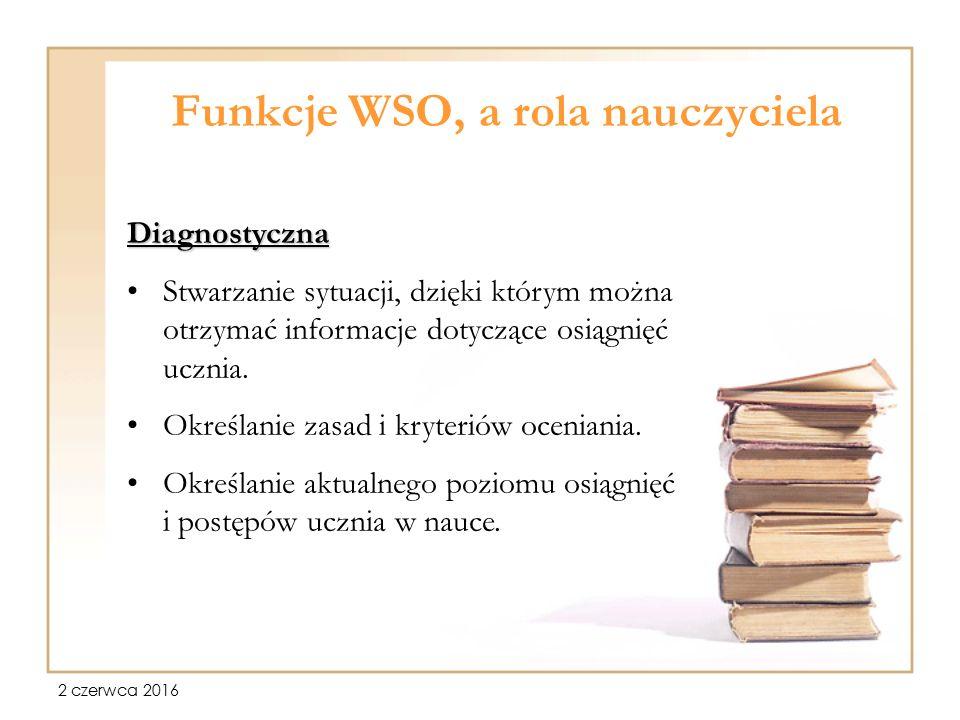2 czerwca 2016 Funkcje WSO, a rola nauczyciela Diagnostyczna Stwarzanie sytuacji, dzięki którym można otrzymać informacje dotyczące osiągnięć ucznia.