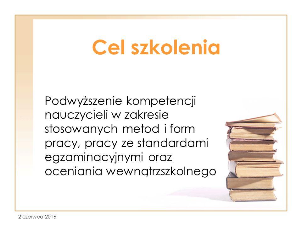 2 czerwca 2016 Zasady tworzenia WSO Rozporządzenie MEN wymaga: 1.Formułowania przez nauczycieli wymagań edukacyjnych, 2.Formułowania przez zespół nauczycieli, w porozumieniu z samorządem uczniowskim i radą rodziców, jednolitych zasad oceniania dotyczących: sposobu informowania uczniów i rodziców o wymaganiach edukacyjnych Form bieżącego oceniania uczniów oraz warunków poprawiania ocen Klasyfikacji śródrocznej (liczba semestrów, skala ocen itp..) Procedur zaliczania niektórych innych (nadobowiązkowych) zajęć edukacyjnych Terminów ustalania ocen klasyfikacyjnych i warunków ich poprawiania Warunków poprawiania dwóch ocen niedostatecznych rocznych.