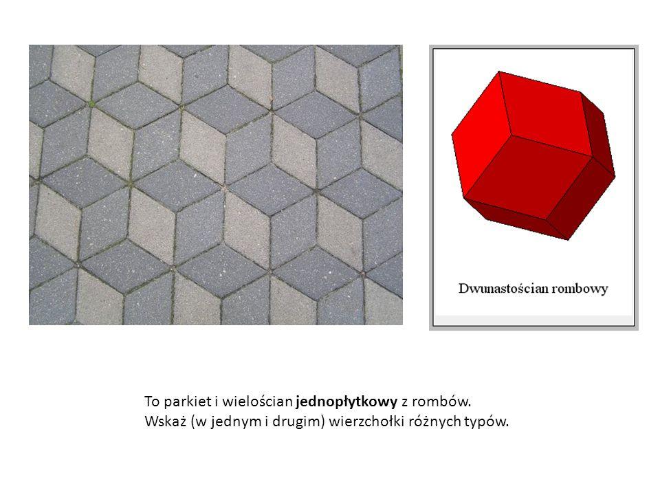 To parkiet i wielościan jednopłytkowy z rombów. Wskaż (w jednym i drugim) wierzchołki różnych typów.