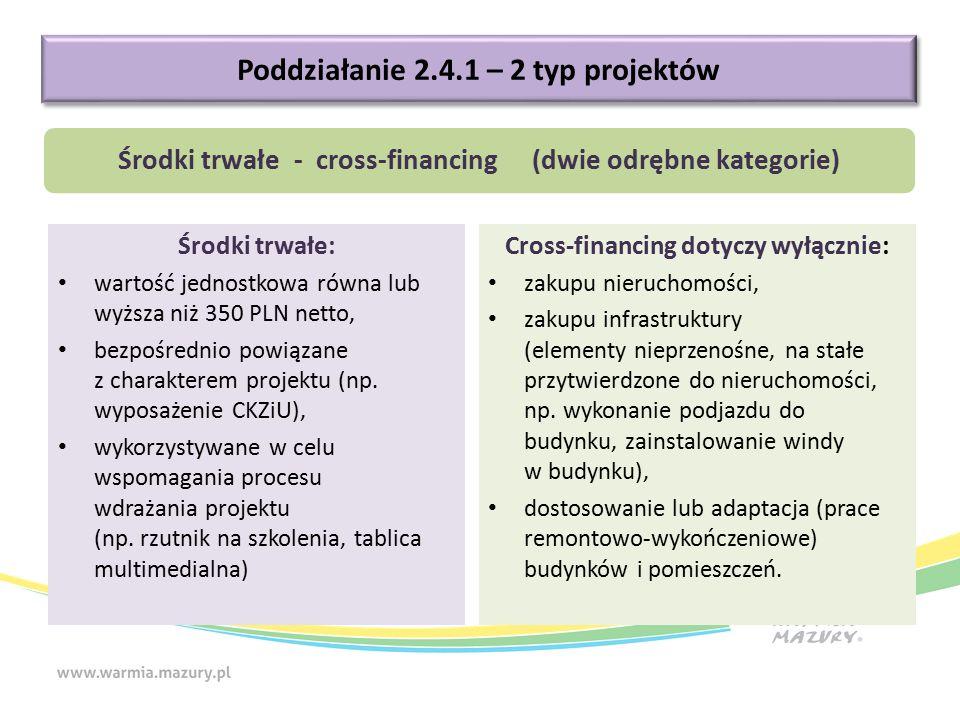 Środki trwałe: wartość jednostkowa równa lub wyższa niż 350 PLN netto, bezpośrednio powiązane z charakterem projektu (np. wyposażenie CKZiU), wykorzys
