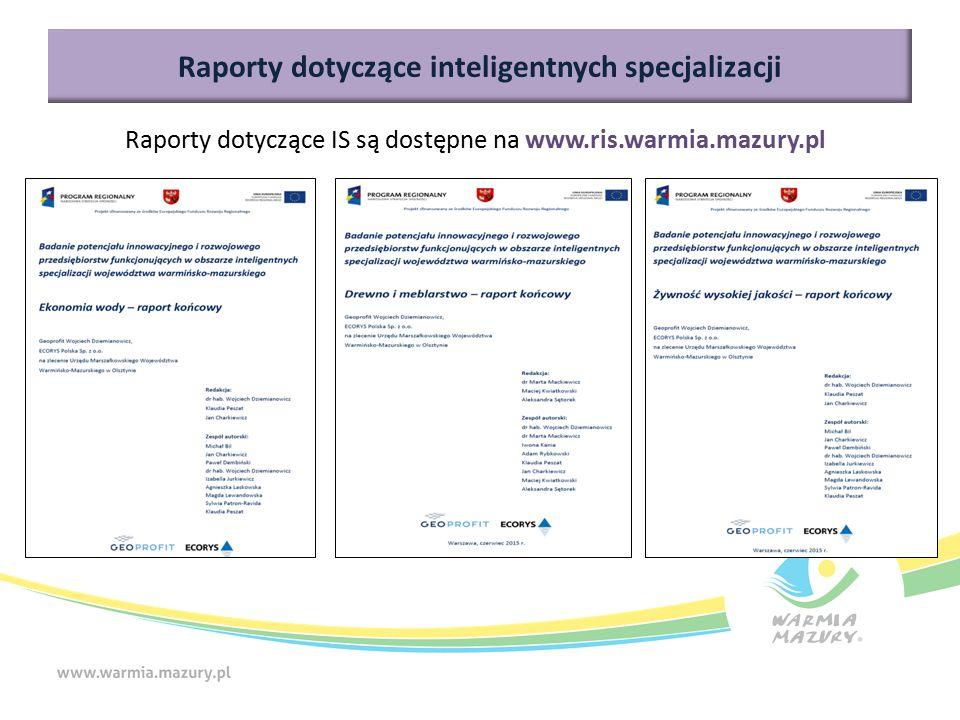 Raporty dotyczące inteligentnych specjalizacji Raporty dotyczące IS są dostępne na www.ris.warmia.mazury.pl