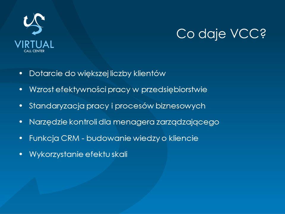 Dotarcie do większej liczby klientów Wzrost efektywności pracy w przedsiębiorstwie Standaryzacja pracy i procesów biznesowych Narzędzie kontroli dla menagera zarządzającego Funkcja CRM - budowanie wiedzy o kliencie Wykorzystanie efektu skali Co daje VCC