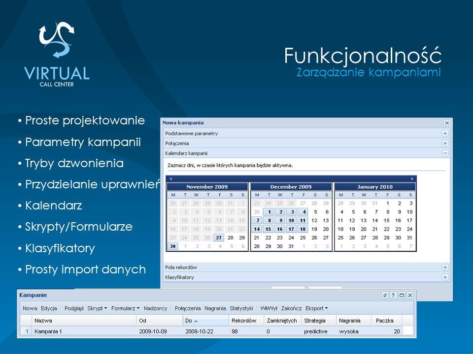 Zarządzanie kampaniami Funkcjonalność Proste projektowanie Parametry kampanii Tryby dzwonienia Przydzielanie uprawnień Kalendarz Skrypty/Formularze Klasyfikatory Prosty import danych