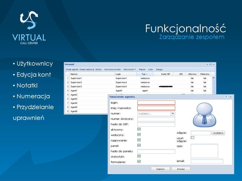 Zarządzanie zespołem Funkcjonalność Użytkownicy Edycja kont Notatki Numeracja Przydzielanie uprawnień