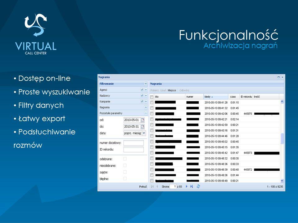 Archiwizacja nagrań Funkcjonalność Dostęp on-line Proste wyszukiwanie Filtry danych Łatwy export Podsłuchiwanie rozmów