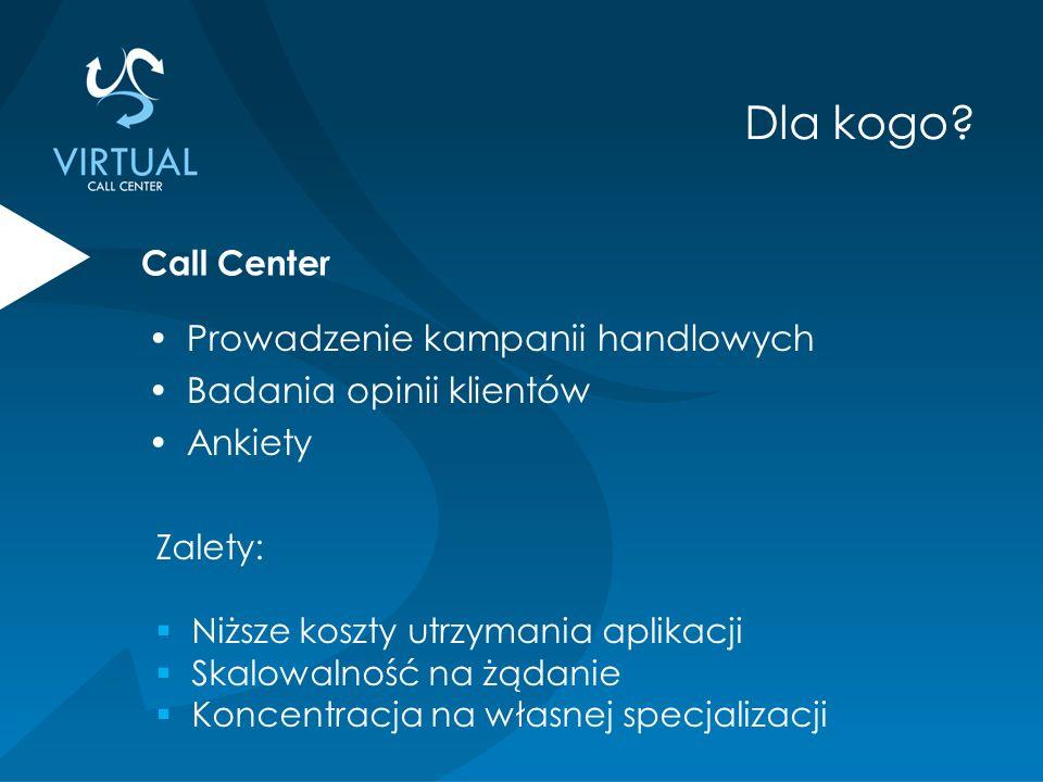 Prowadzenie kampanii handlowych Badania opinii klientów Ankiety Zalety:  Niższe koszty utrzymania aplikacji  Skalowalność na żądanie  Koncentracja na własnej specjalizacji Call Center Dla kogo?