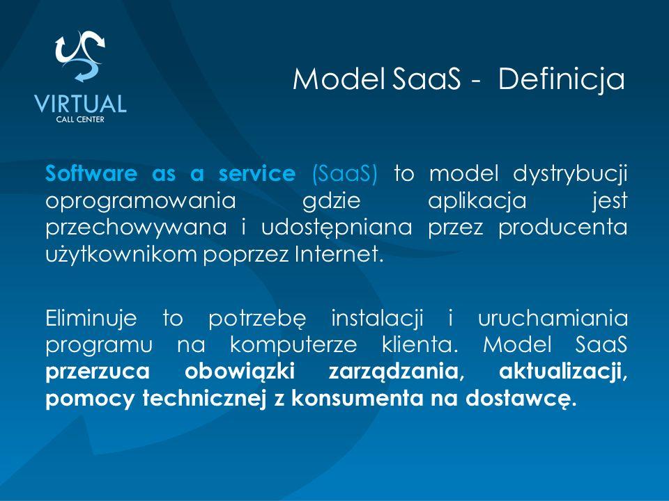 Software as a service (SaaS) to model dystrybucji oprogramowania gdzie aplikacja jest przechowywana i udostępniana przez producenta użytkownikom poprzez Internet.