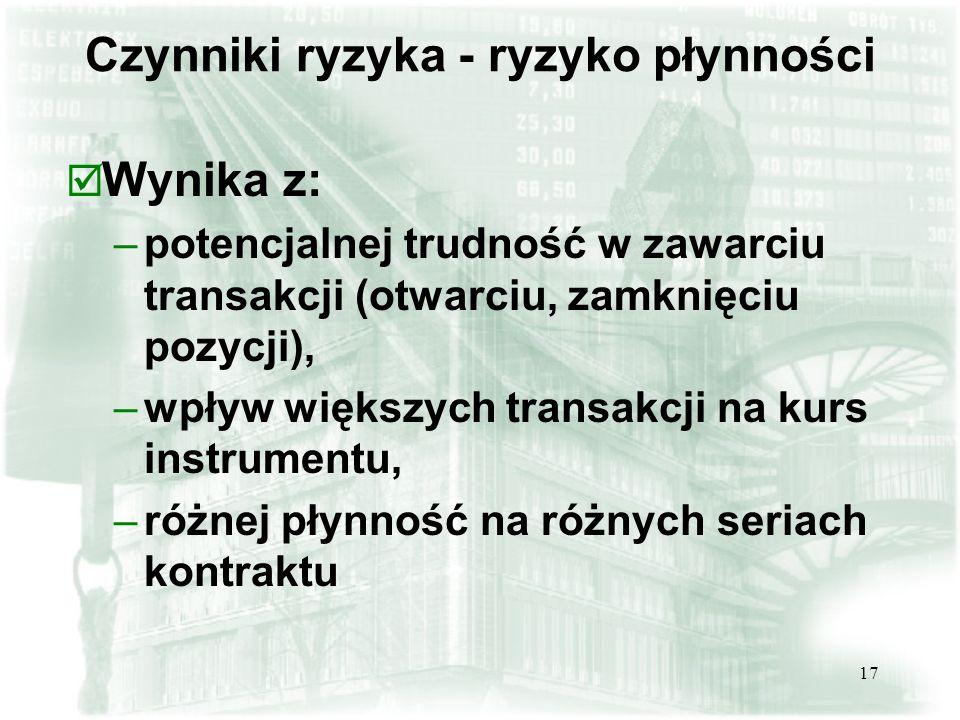 17 Czynniki ryzyka - ryzyko płynności þ Wynika z: –potencjalnej trudność w zawarciu transakcji (otwarciu, zamknięciu pozycji), –wpływ większych transakcji na kurs instrumentu, –różnej płynność na różnych seriach kontraktu
